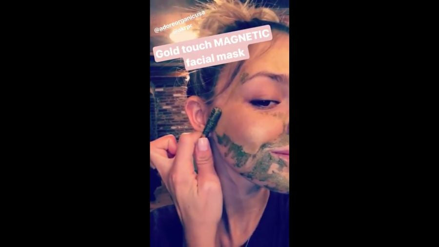 Model Danielle Knudson Tries Adore's Golden Touch Magnetic Facial Mask