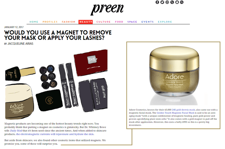 Preen Features Adore Cosmetics 24K Gold Magnetic Mask