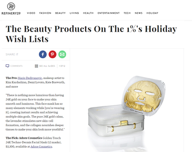 Refinery29 Features Adore Cosmetics Gold Mask in 1% Holiday Wish List