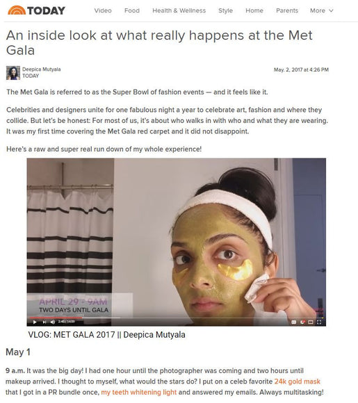 Adore Cosmetics Featured on Today Online as Part of Deepica Mutyala's Met Gala Routine