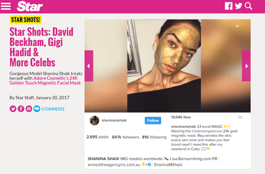 Model Shanina Shaik Goes Gold with Adore Cosmetics