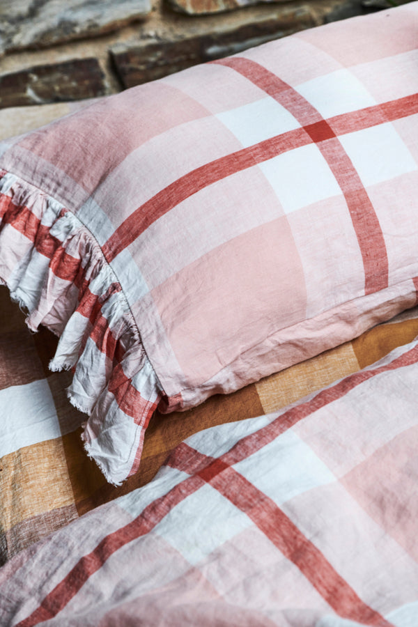 Floss Check Ruffle Flat Sheet