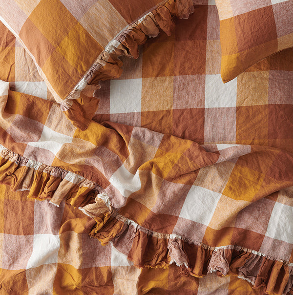 Biscuit Check Ruffle Flat Sheet