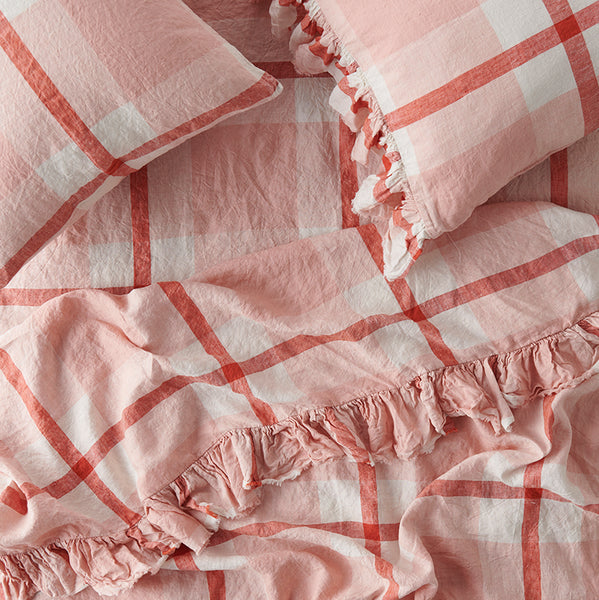 PREORDER - Floss Check Ruffle Flat Sheet