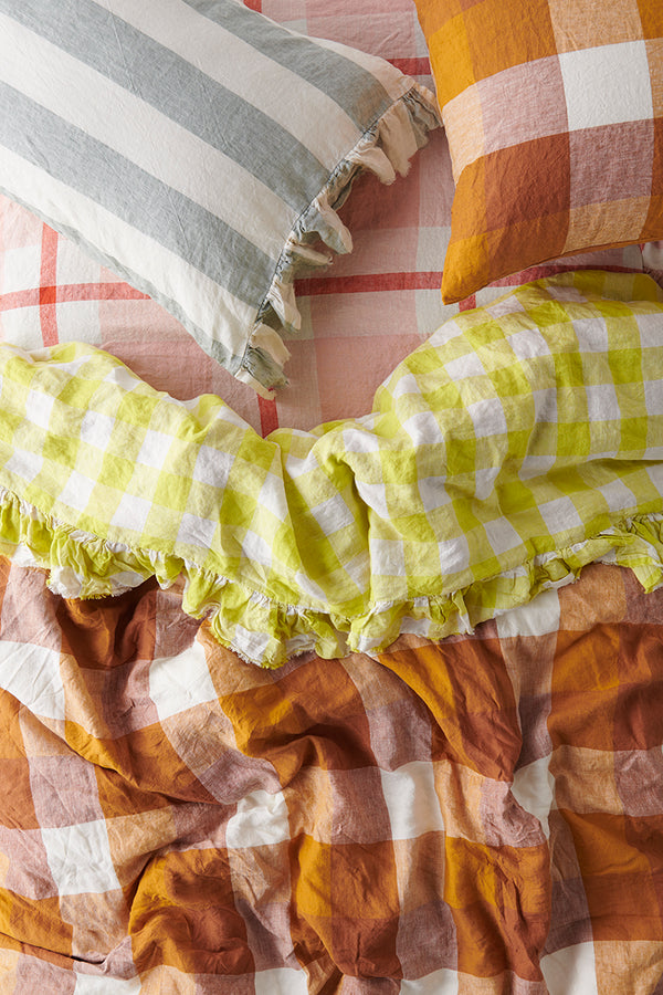 PREORDER - Limoncello Gingham Ruffle Flat Sheet