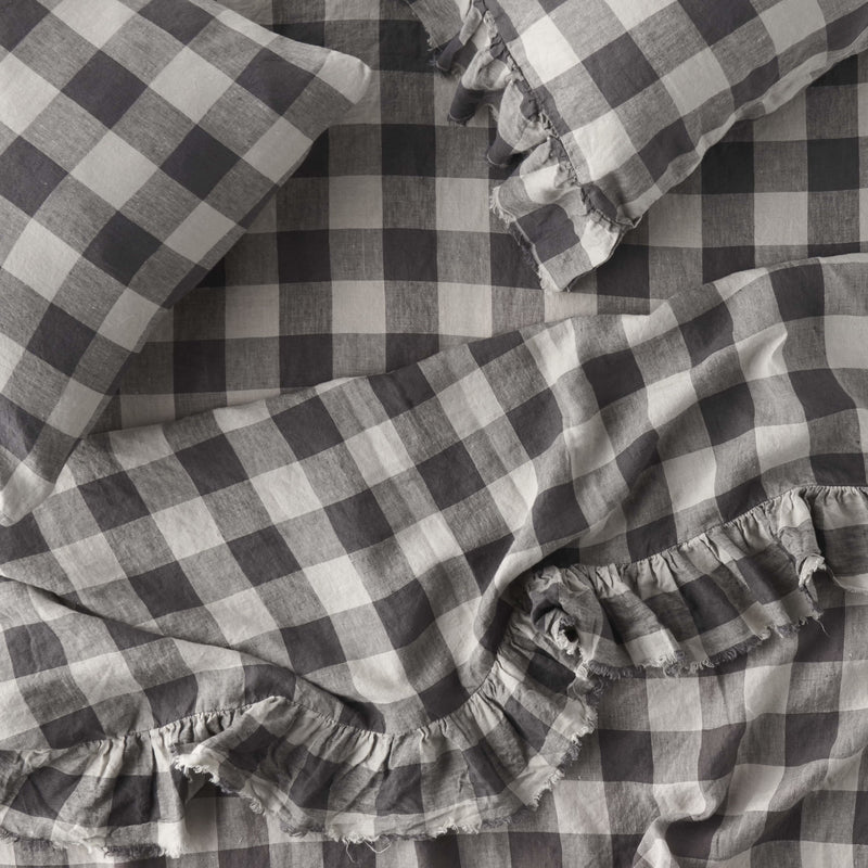 Licorice Gingham Ruffle Flat Sheet
