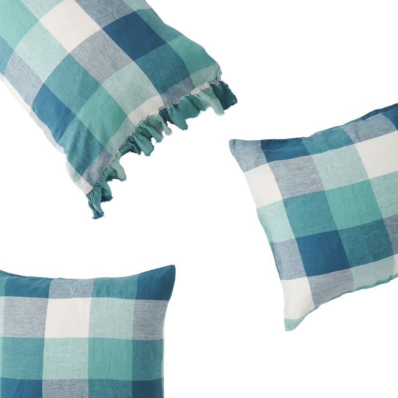Peacock Check Pillowcase Sets