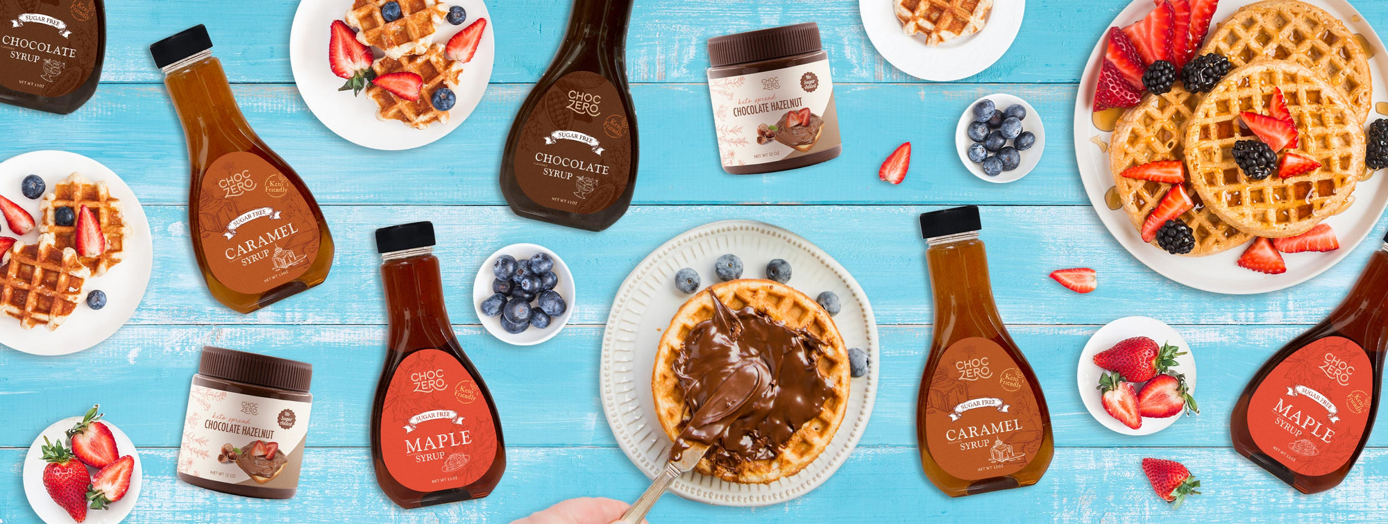 Keto spread and syrups with breakfast waffles