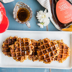 Breakfast chaffles with sugar free syrup