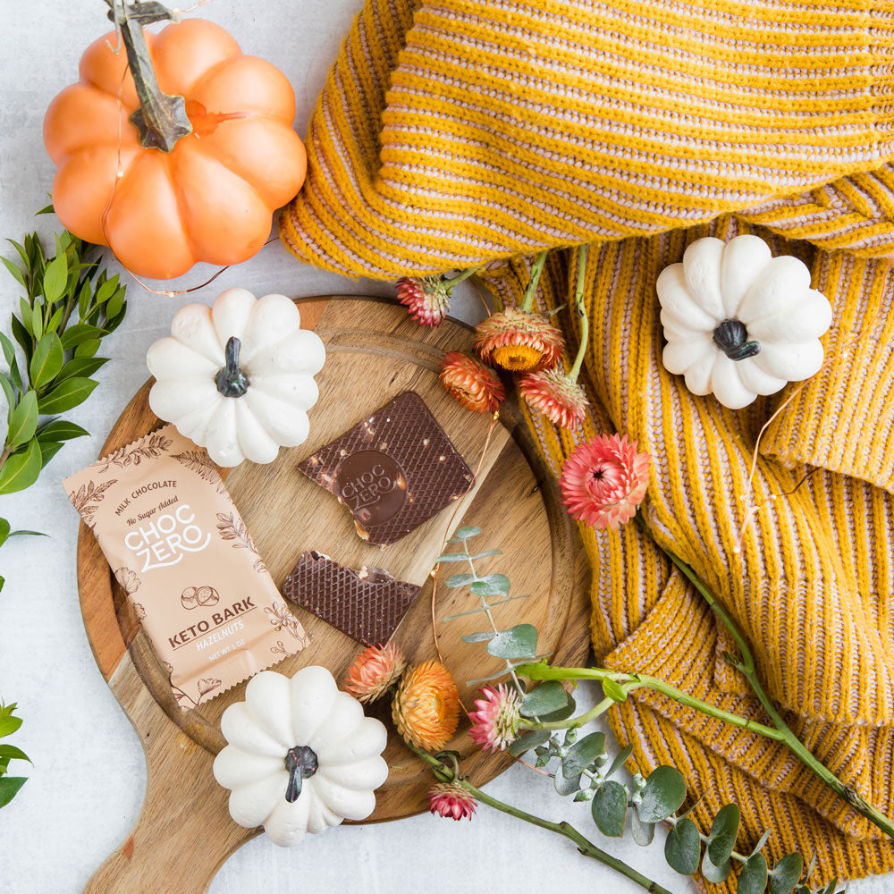 Keto Bark, pumpkins and a yellow blanket