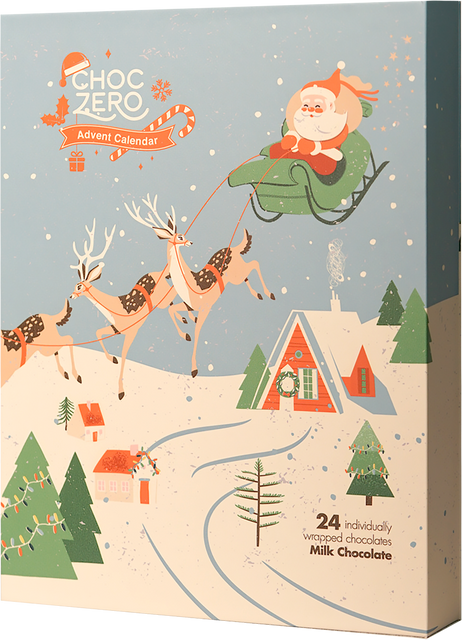 Keto Advent Calendar with vintage Santa Claus and reindeer design