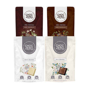 Keto Chocolate Squares - Variety Pack - No Sugar Added, Low Carb