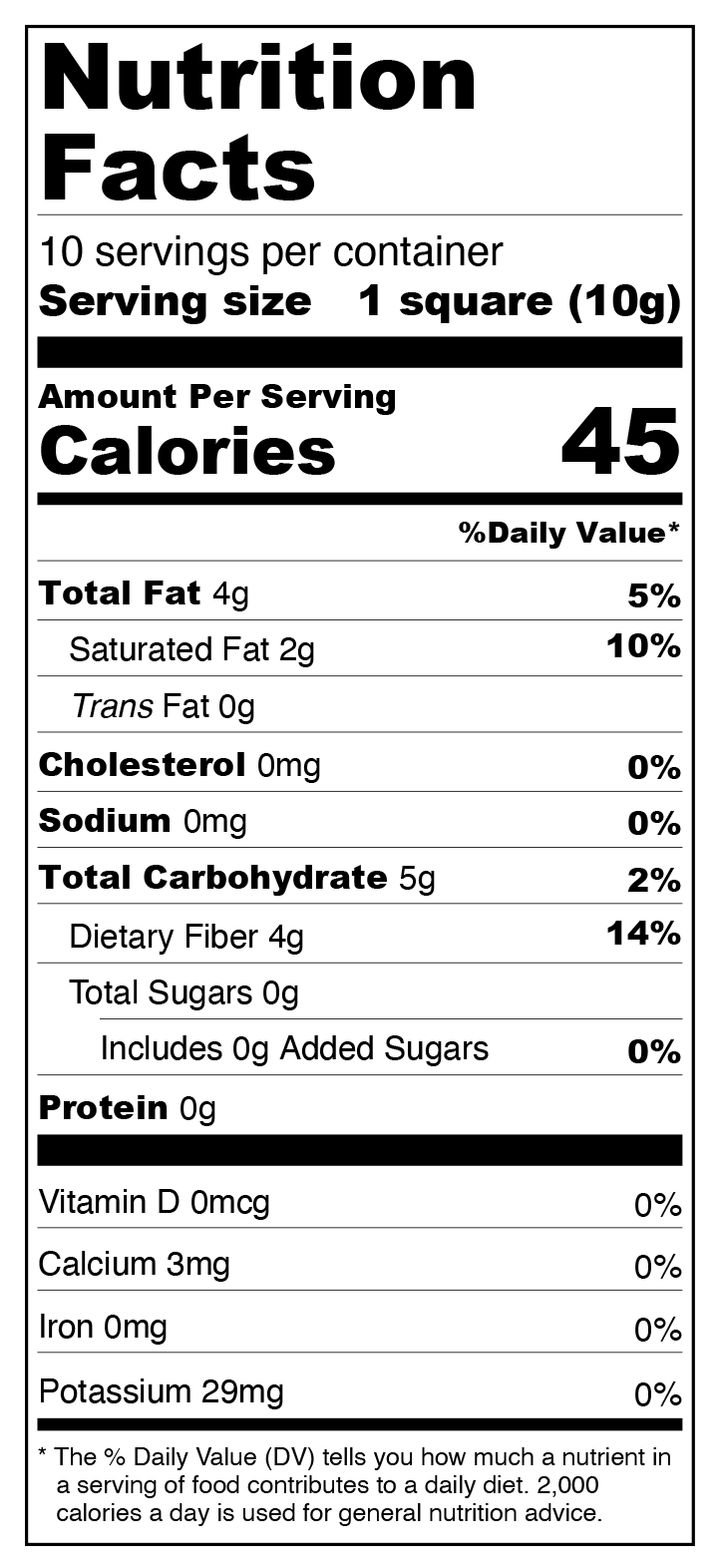 70% Dark Chocolate Squares - Sugar Free, Low Carb Nutrition Facts