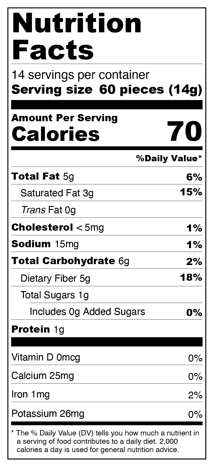 6-Pack Milk Chocolate Chips - No Sugar Added, Low Carb Nutrition Facts
