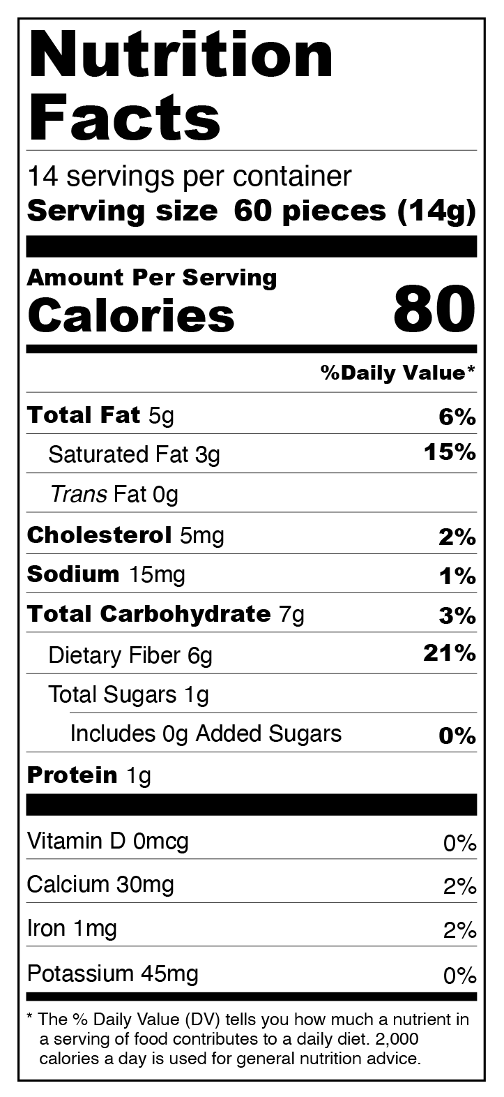 6-Pack White Chocolate Chips - No Sugar Added, Low Carb Nutrition Facts