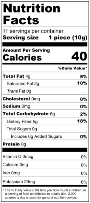 Keto Dark Chocolate Solid Heart - Keto Valentine's Day Collection Nutrition Facts
