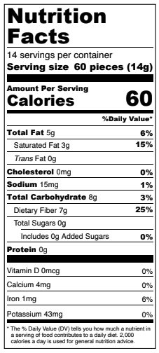 6-Pack Peanut Butter Chips - Keto Friendly, Low Carb Nutrition Facts