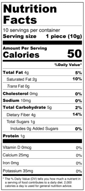Pumpkin Spice White Chocolate Squares - Limited Edition Nutrition Facts