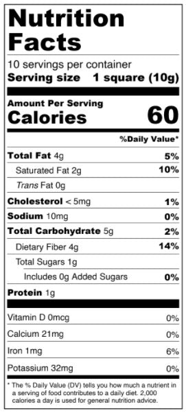 White Chocolate Squares - No Sugar Added, Low Carb Nutrition Facts