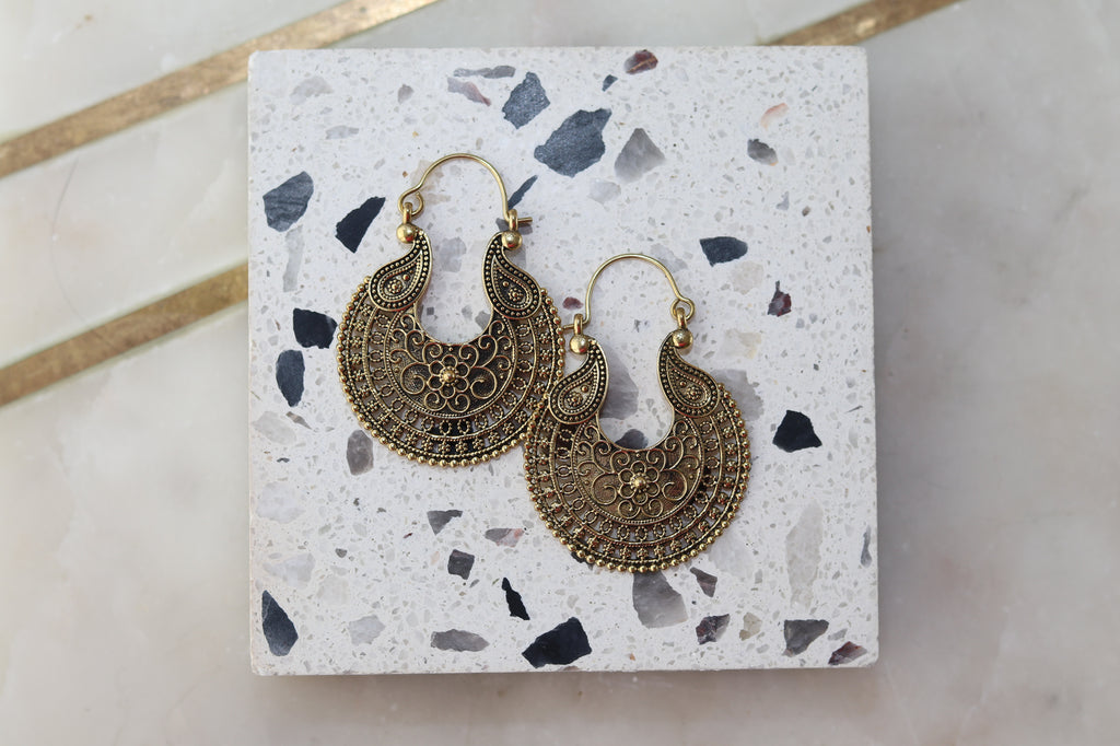 Brass Paisely Earrings