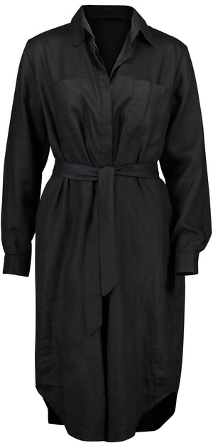 Airs & Graces Stella Shirt Dress in black linen
