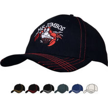 4086 Brushed Heavy Cotton Cap w/ Contrast Cross Stitching on Peak
