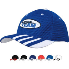 4109 Sandwich Mesh Cap with Striping on Peak