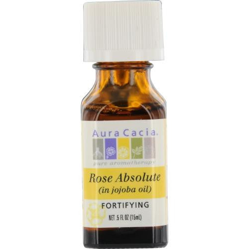 Essential Oils Aura Cacia Rose Absolute In Jojoba Oil .5 Oz By Aura Cacia