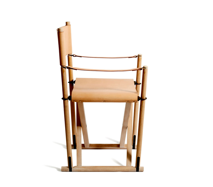 Folding Chair by Mogens Koch, lye and soap finished beech and harness leather