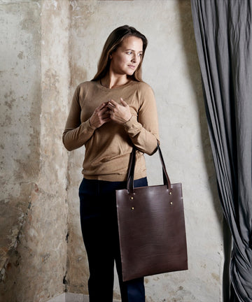 Leather tote: HEBERT (dark brown)