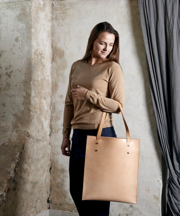 Leather tote: HEBERT (natural)