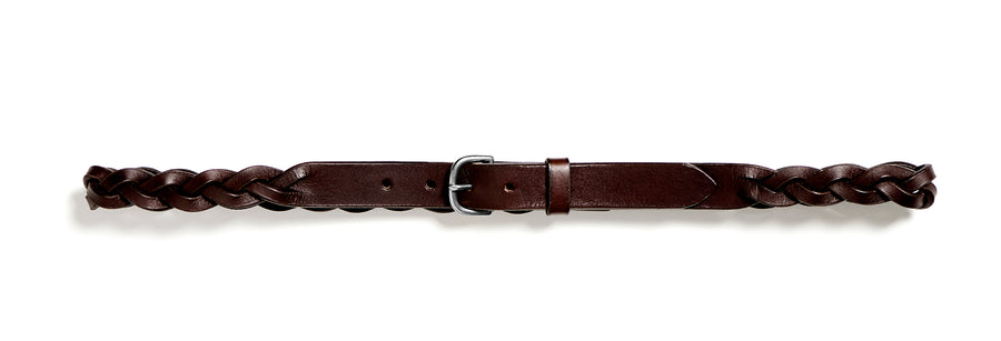 Plaited leather belt: HELLE (dark brown)