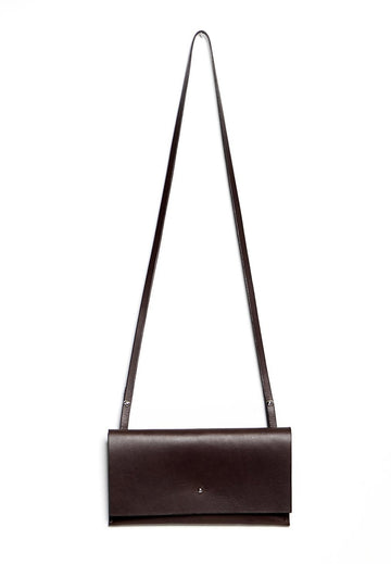 Leather clutch & shoulder bag: RIGMOR MINI (dark brown)