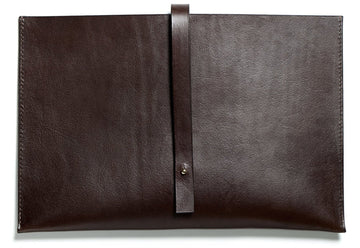 Leather computer sleeve: SIXTEN (dark brown)