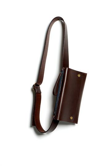 Leather bumbag: RIGMOR DOUBLE (dark brown)