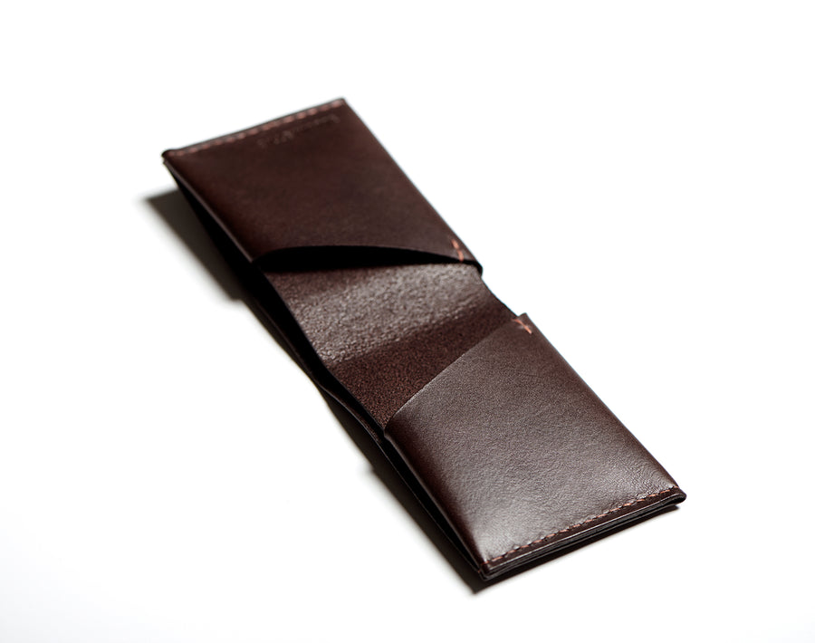 Leather bifold wallet: BECH (dark brown)