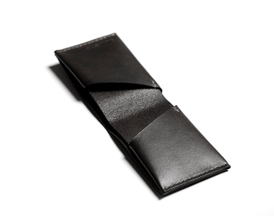 Leather bifold wallet: BECH (black)