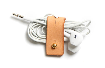 Leather cable organizer: CHARLIE (natural) 3 pack