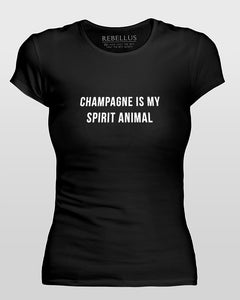 Champagne Is My Spirit Animal T-Shirt Tight Version in Black