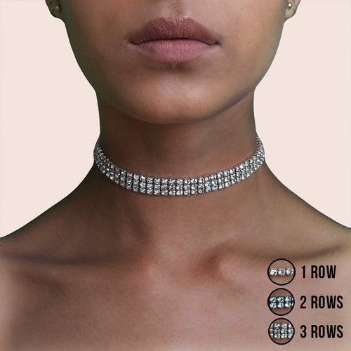 Crystal Diamond Choker Necklace with Glitter Rhinestones