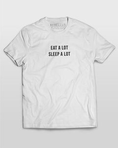 Eat A Lot Sleep A Lot T-Shirt in White