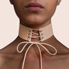 Faux Suede Leather Lace Up Choker