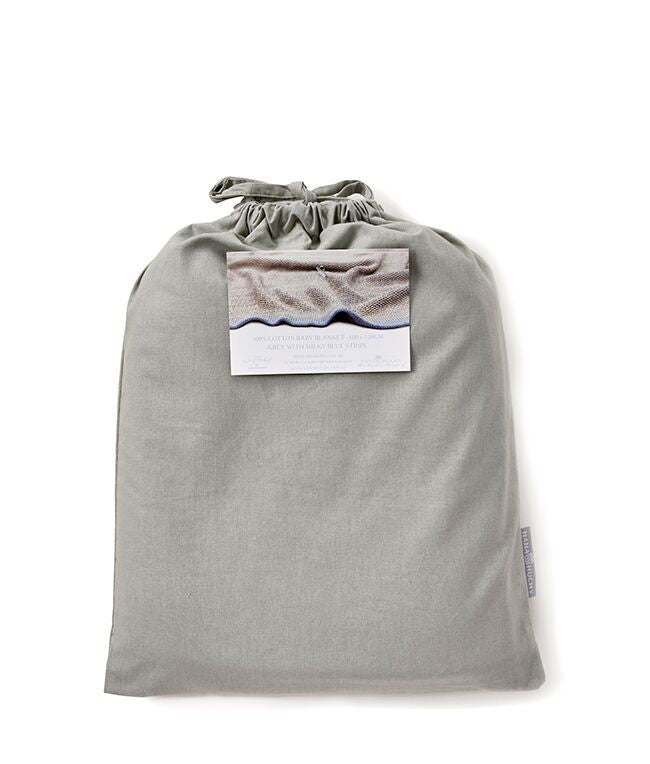 Grey Moss Cotton Knit Blanket with Blue Stripe