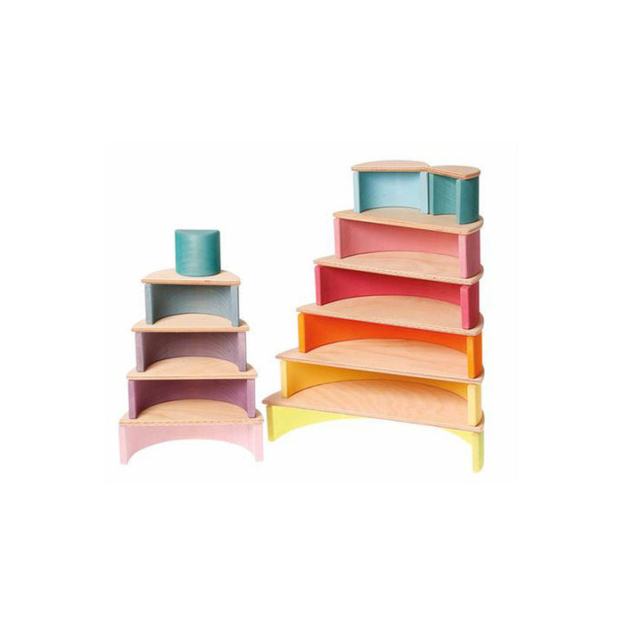 Grimms Wooden Pastel Rainbow Tunnel - (L)
