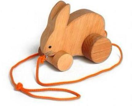 Grimms Wooden Pull Along Rabbit