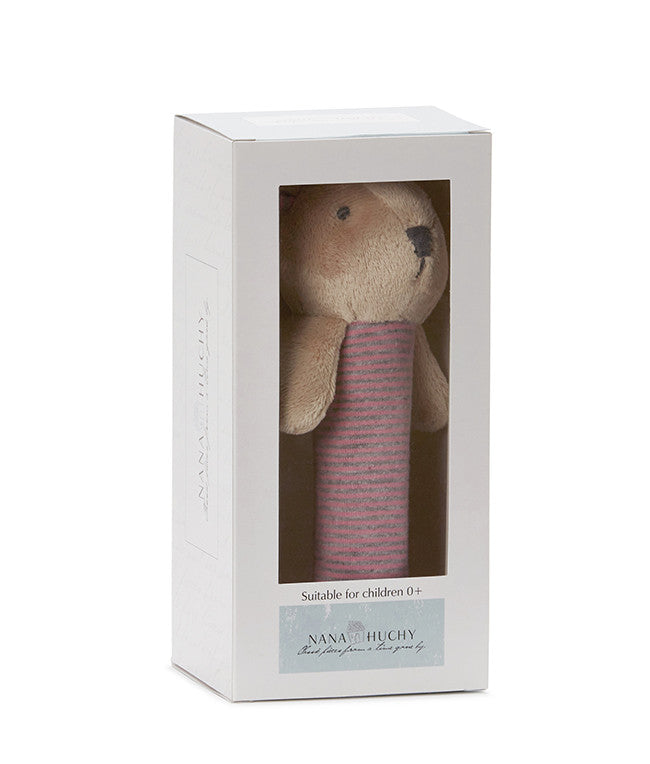 Bunny Baby Rattle - Pink (complete with gift box)