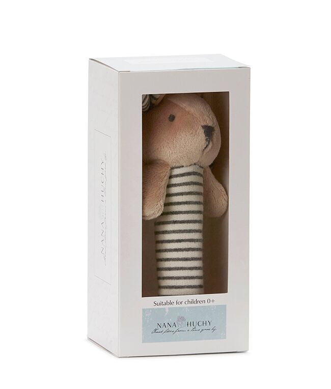 Bunny Baby Rattle - Grey (complete with gift box)