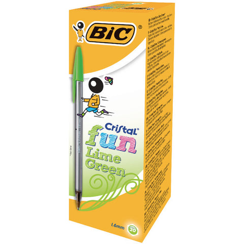Bic Cristal Fun Lime Green Ball Point Pens Pack 20