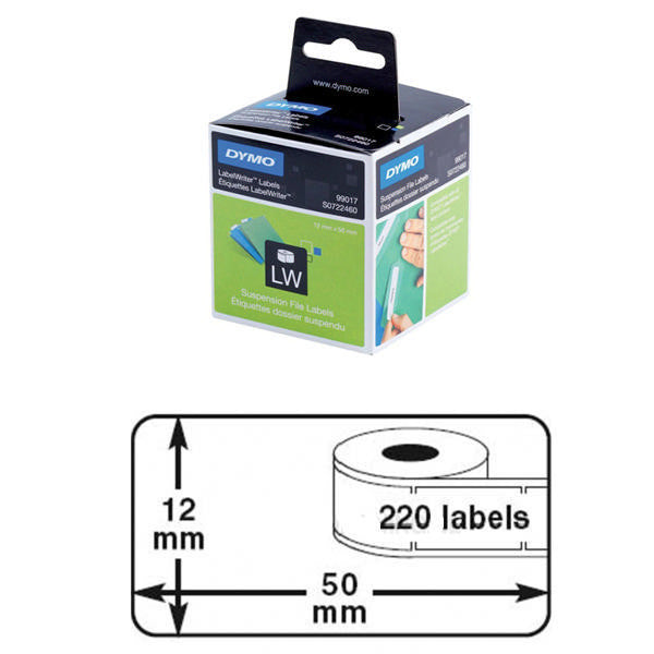 50x12mm Dymo Suspension File Label Pk 220 99017 S0722460