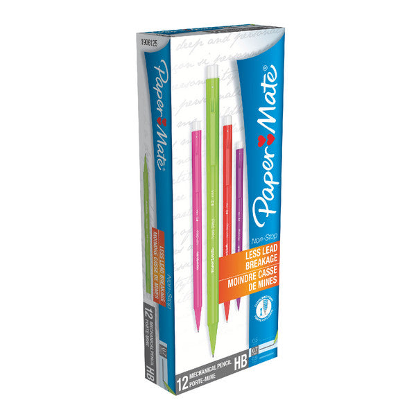 PaperMate Neon Assorted Barrel Automatic Pencil Non-Stop 0.7mm HB Pack 12